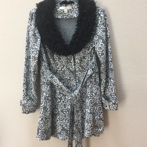 Faux fur collar jacket petite gray and black